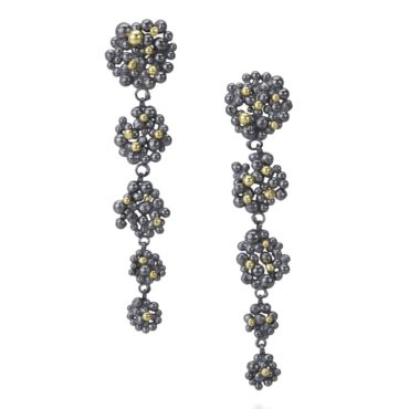 Hannah Bedford, Oxidised Silver Berry Cascade Earrings, Tomfoolery London