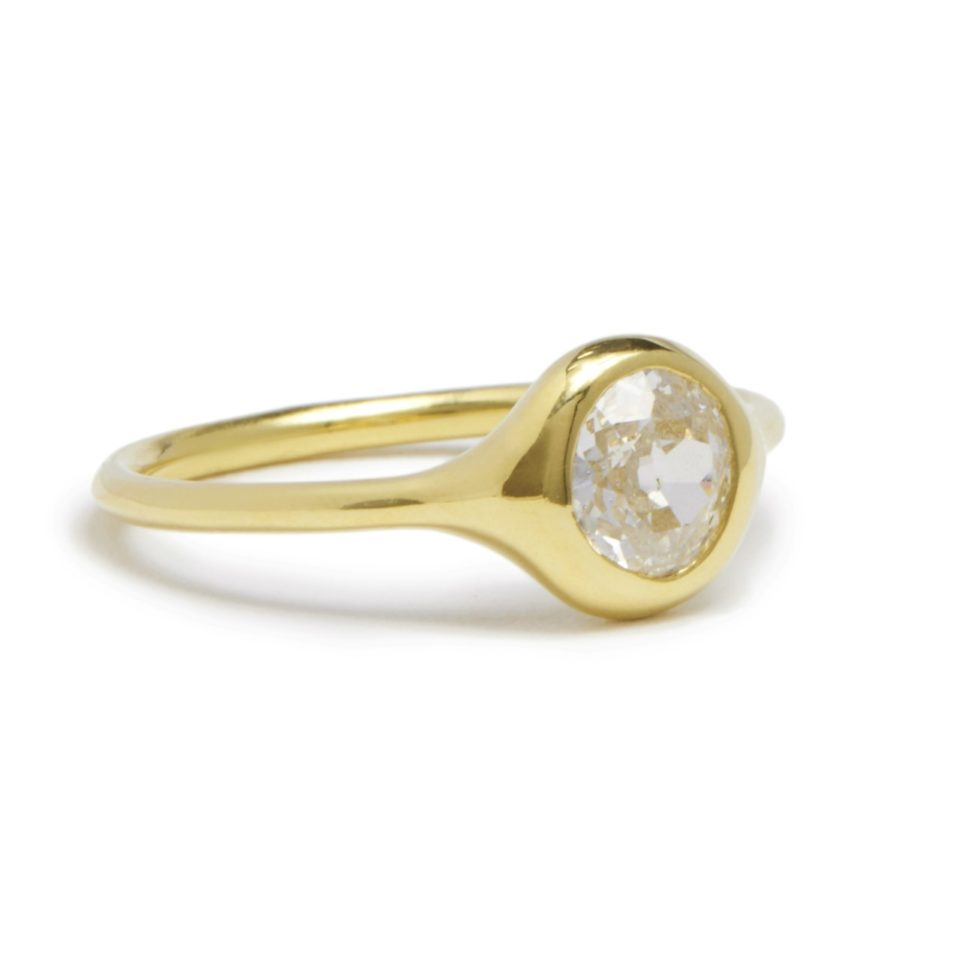 Diana Mitchell, tomfoolery, Old Cut European Diamond Carved Ring