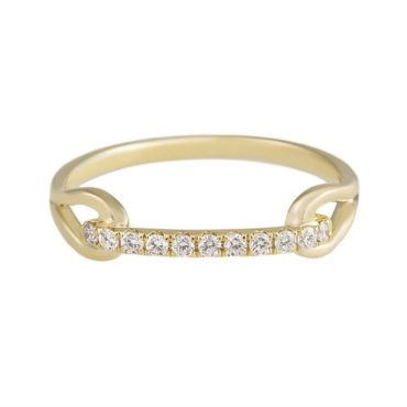 tomfoolery, 18K Yellow Gold Pave Diamond Loop Ring, tf diamonds