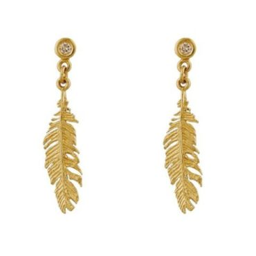 Plume & Champagne Diamond Drop Earrings, alex monroe, tomfoolery