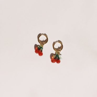 Ninfa Handmade, Fruit Hoop Earrings - Cherry, Tomfoolery London