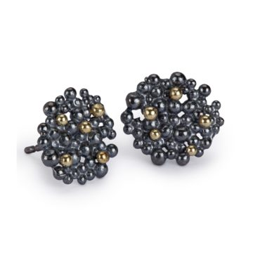Hannah Bedford, Medium Oxidised Silver Berry Stud Earrings, Tomfoolery London