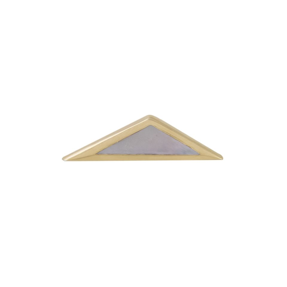 metier by tomfoolery, Mother of Pearl Elongated Bezel Triangle Stud .1