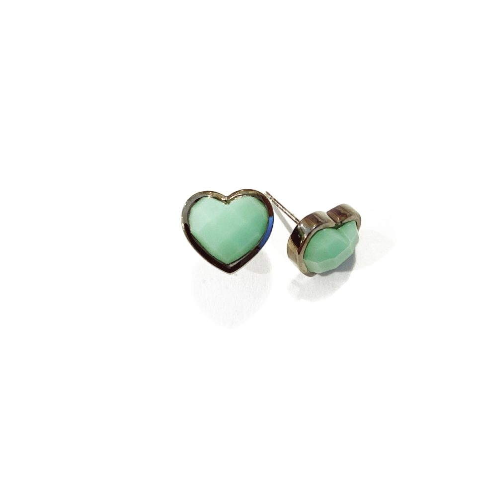 Chrysoprase Mini Heart Stud Earrings,  tomfoolery, Nak Armstrong