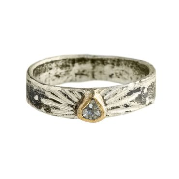 Franny E, Aquamarine Ring In Sterling Silver & 14ct Gold, Tomfoolery London