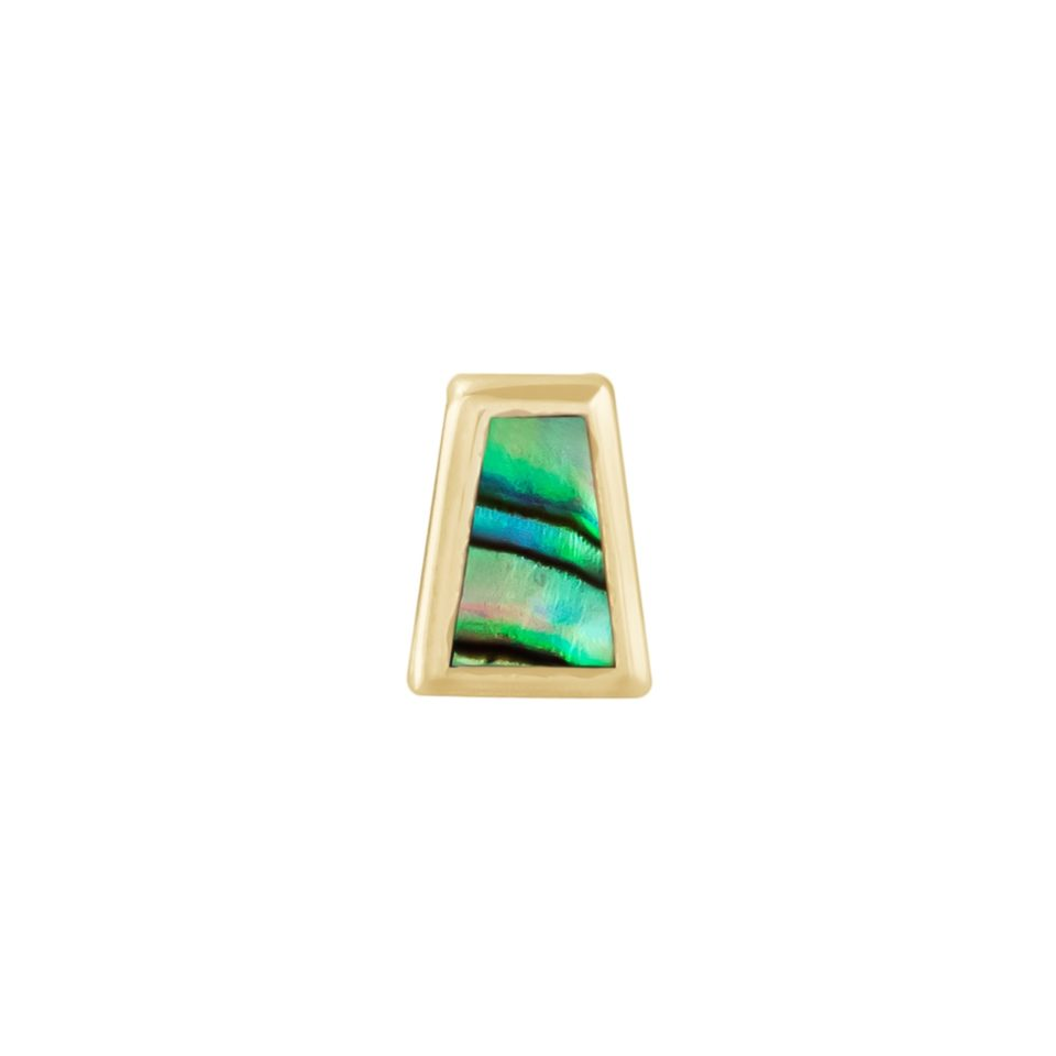 metier by tomfoolery: Bezel Mother of Pearl Mini Trapezoid Stud