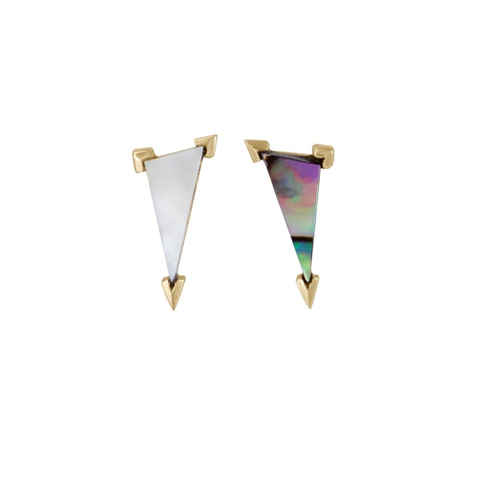 metier by tomfoolery: Mother of Pearl Elongated Claw Triangle Stud .2
