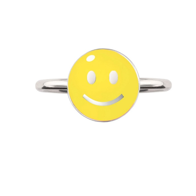 Silver & Enamel Yellow 'Smile' Ring, Nora Kogan, Tomfoolery