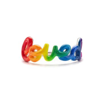 Silver & Enamel Rainbow 'Loved' Ring, Nora Kogan, Tomfoolery