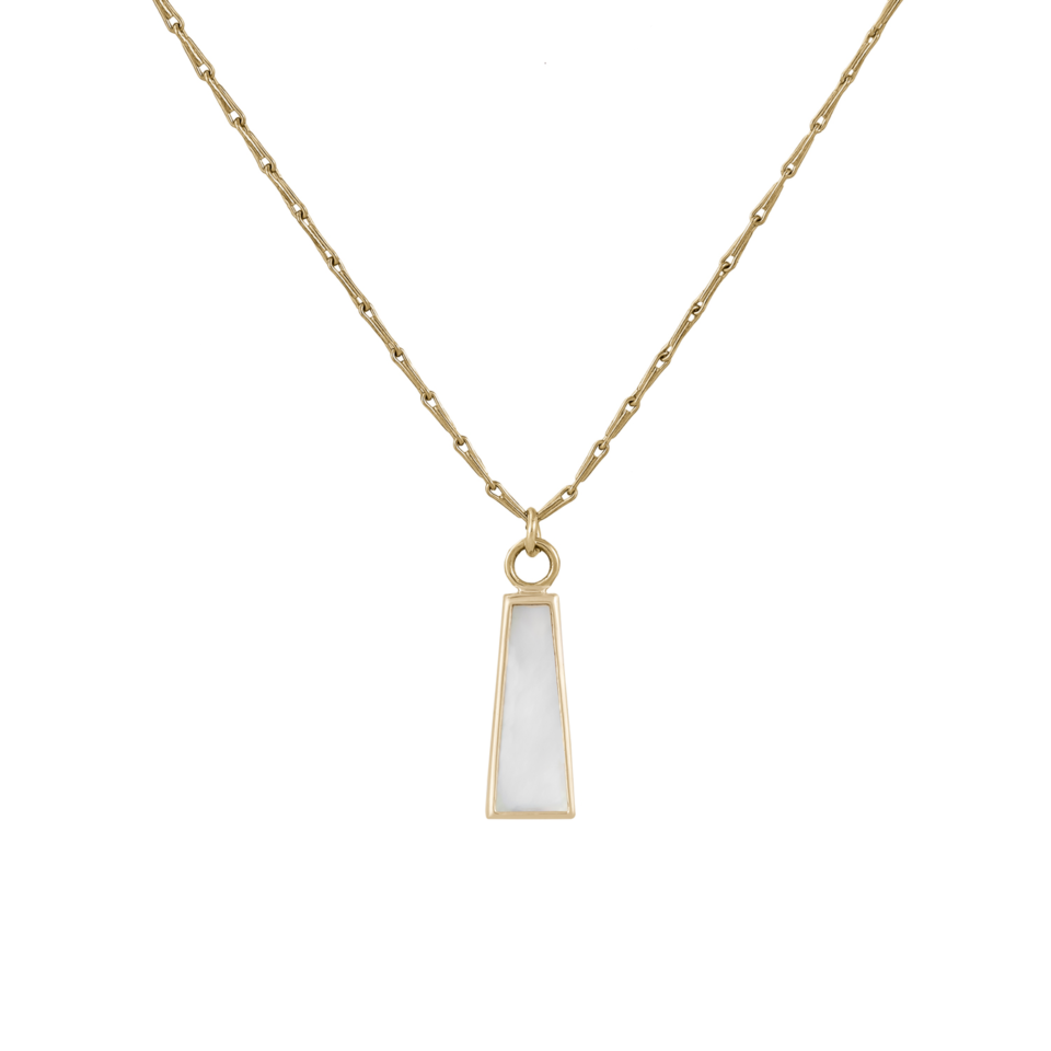 Tomfoolery Mother of Pearl Long Trapezoid Plaque + Lille Chain, Métier by Tomfoolery