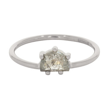 tfone by Tomfoolery, 18ct White Gold Half Moon Salt & Pepper Diamond Claw Set Ring, Tomfoolery London