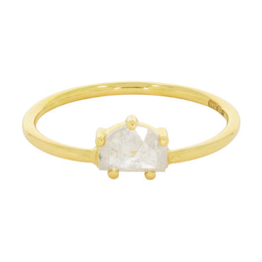 tf one by Tomfoolery, 18ct Yellow Gold Half Moon Diamond Claw Set Ring, Tomfoolery London