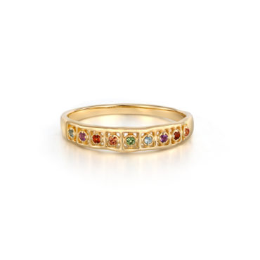 tomfoolery, Multi-Colour Gemstone Wide Ring, 14ct Series