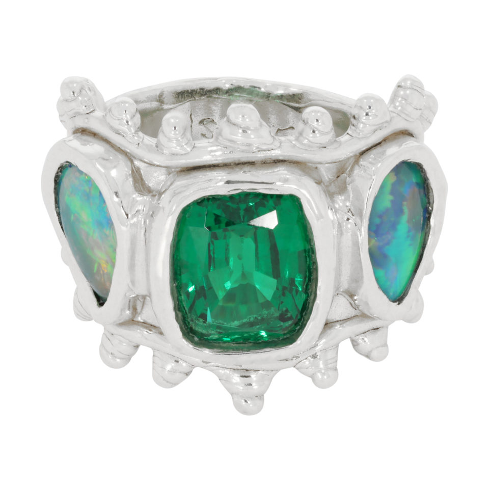 Millie Savage - Three Stone Lab Grown Emerald & Opal Silver Ring - tomfoolery