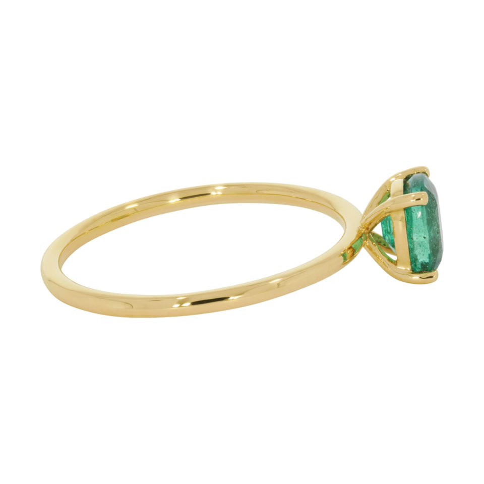 tf One by Tomfoolery, 18ct Yellow Gold & Oval Emerald Claw Set Ring, Tomfoolery London