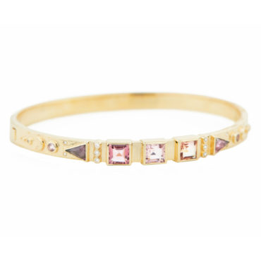 Celine Daoust, OOAK Pink Tourmaline & 14ct Yellow Gold Bangle, tomfoolery