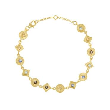tomfoolery: Gemstone Square Link Bracelet, everyday by tomfoolery