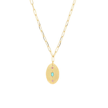 Maria Beltran, Turquoise and Pink Sapphires Gold Plated Pendant Necklace, Tomfoolery London