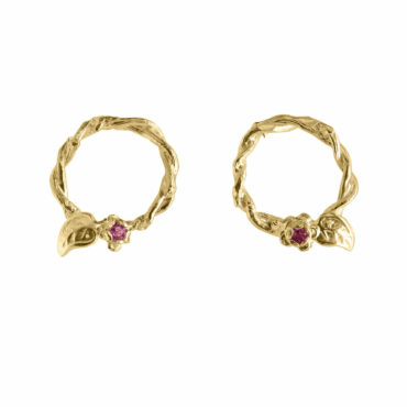 Entwined Vine Circle Studs by UK jewellery designer Amanda Coleman. Available to shop online at tomfoolerylondon.co.uk