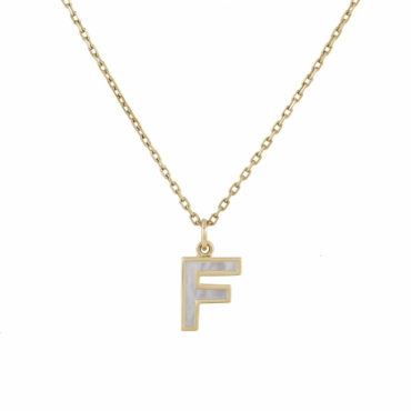 Mother of Pear Initial on Heavy Diamond Cut Necklace by metier by tomfoolery. Shop metier by tomfoolery online at tomfoolerylondon.co.uk