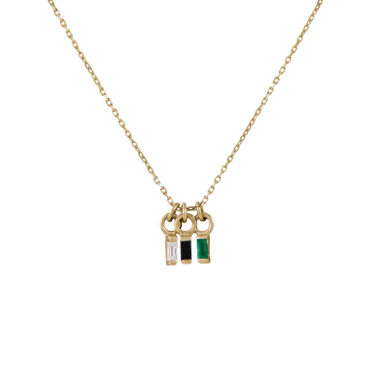 Triple baguette diamond cut necklace by metier by tomfoolery. Shop metier by tomfoolery online at tomfoolerylondon.co.uk