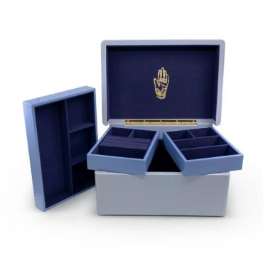 Trunk Jewellery Box in Evening Blue by Trove, tomfoolery London   www.tomfoolerylondon.co.uk