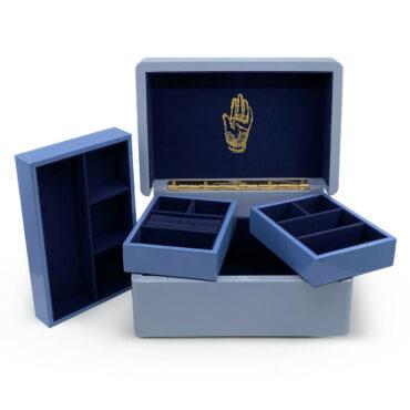 Mini Trunk Jewellery Box in Evening Blue by Trove, tomfoolery London   www.tomfoolerylondon.co.uk