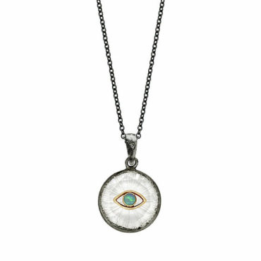 Opal eye small shield round necklace by Acanthus available to shop online at tomfoolery London | www.tomfoolerylondon.co.uk