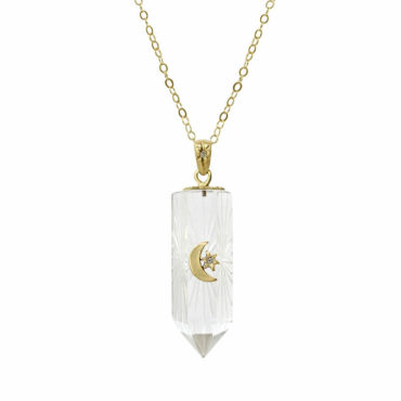 Crescent star radiant pillar pendant by Acanthus available to shop online at tomfoolery London | www.tomfoolerylondon.co.uk