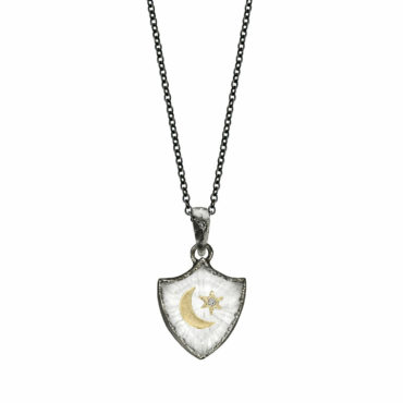 Crescent Star small shield amulet necklace by Acanthus available to shop online at tomfoolery London | www.tomfoolerylondon.co.uk