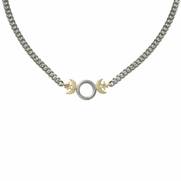 Mixed metal goddess charm holder necklace by Acanthus available to shop online at tomfoolery London   www.tomfoolerylondon.co.uk