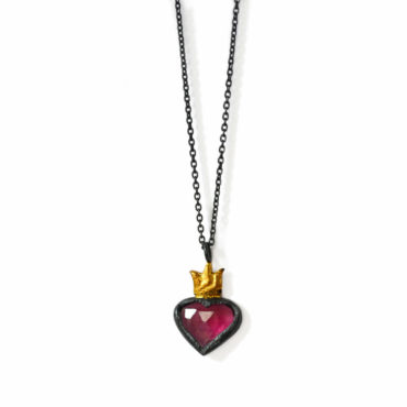 Sacred heart garnet coin pendant by Acanthus available to shop online at tomfoolery London | www.tomfoolerylondon.co.uk