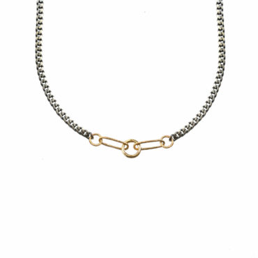 Mixed metal five link charm holder necklace by Acanthus available to shop online at tomfoolery London   www.tomfoolerylondon.co.uk
