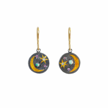 Small round scape scape drop earrings by Acanthus available to shop online at tomfoolery London   www.tomfoolerylondon.co.uk
