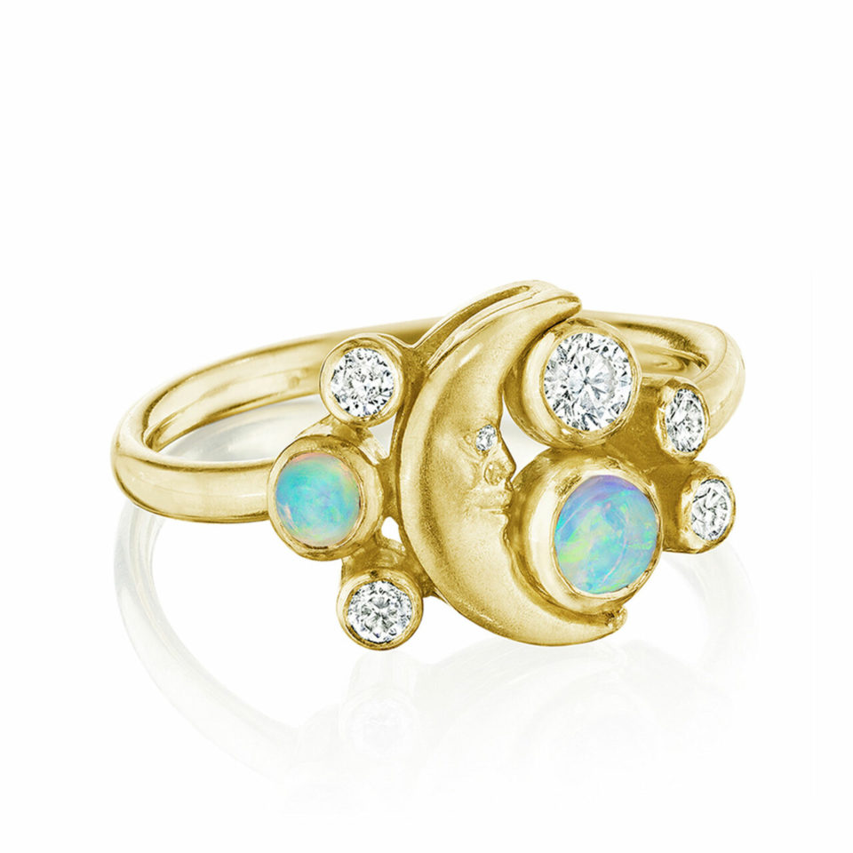 Crescent Moonface Meteor Cluster Ring by Anthony Lent, shop online at tomfoolery London   www.tomfoolerylondon.co.uk