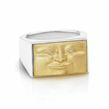 Gold and Silver Brickface Signet Ring by Anthony Lent, shop online at tomfoolery London | www.tomfoolerylondon.co.uk