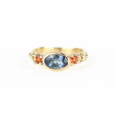 Blue & Orange Carved 3 Stone Ring by Ciara Bowles, tomfoolery London