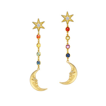Rainbow Sapphire Crescent Moonface Earrings by Anthony Lent, shop online at tomfoolery London | www.tomfoolerylondon.co.uk