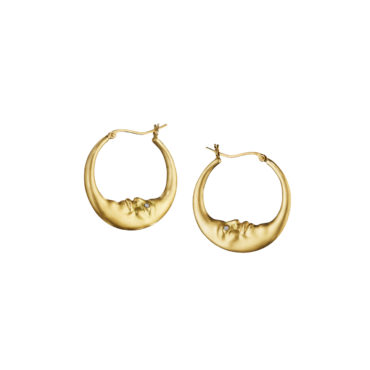 Small Crescent Moon Hoop Earrings by Anthony Lent, shop online at tomfoolery London | www.tomfoolerylondon.co.uk