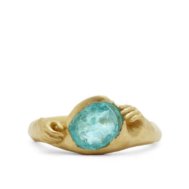 Fraser Hamilton, Tomfoolery, TOMFOOLERY EXCLUSIVE -OOAK 14ct Yellow Gold Pariba Tourmaline Hand Ring