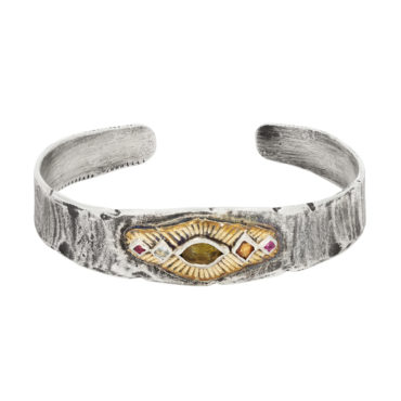 Bronze & Silver cuff with Green Tourmaline, Sapphires, Tourmalines by Franny E, tomfoolery London www.tomfoolerylondon.co.uk