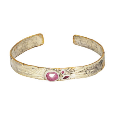 Bronze & Silver cuff with Pink Sapphire and Rubies by Franny E, tomfoolery London www.tomfoolerylondon.co.uk