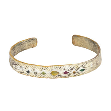 Bronze & Silver cuff with Sapphire, Opal, Citrine, ruby, emerald by Franny E, tomfoolery London www.tomfoolerylondon.co.uk