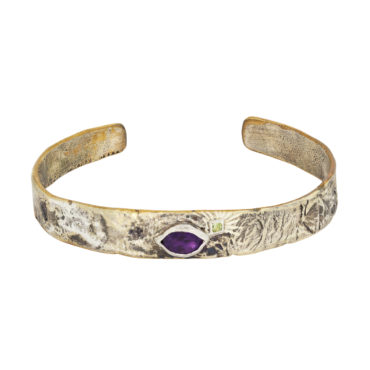 Bronze & Silver cuff with Amethyst and Peridot by Franny E, tomfoolery London www.tomfoolerylondon.co.uk