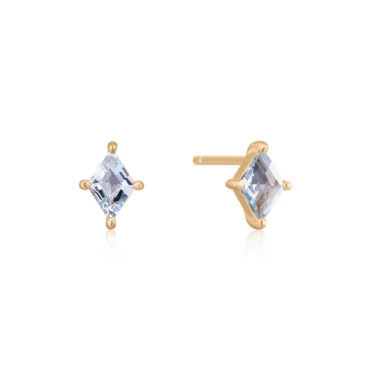 Gem Cut Aquamarine Studs by tomfoolery london 14ct series available to shop online at www.tomfoolerylondon.co.uk