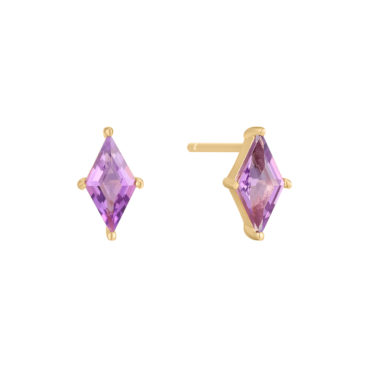 Gem Cut Sapphire Princess Studs by tomfoolery london 14ct series available to shop online at www.tomfoolerylondon.co.uk