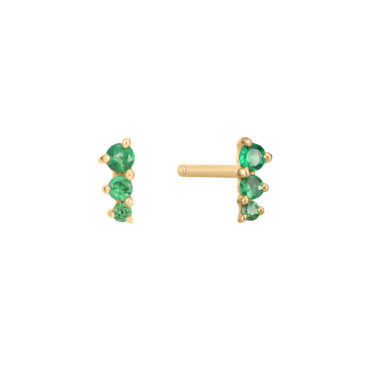 Tiny Dot Tsavorite Studs by tomfoolery london 14ct series available to shop online at www.tomfoolerylondon.co.uk