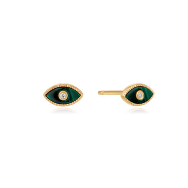 Malachite Eye Studs by tomfoolery london 14ct series available to shop online at www.tomfoolerylondon.co.uk