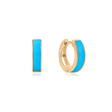 Inlay Turquoise Wide Hoops by tomfoolery london 14ct series available to shop online at www.tomfoolerylondon.co.uk