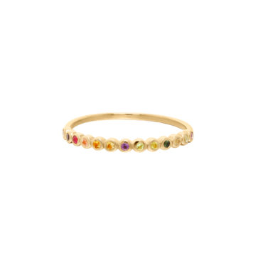 Tiny Dot Rainbow Ring  by tomfoolery london 14ct series available to shop online at www.tomfoolerylondon.co.uk